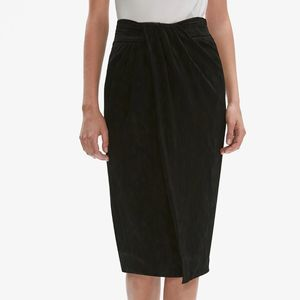 MM LaFleur Lenox Skirt Onyx Satin Jacquard Size 10